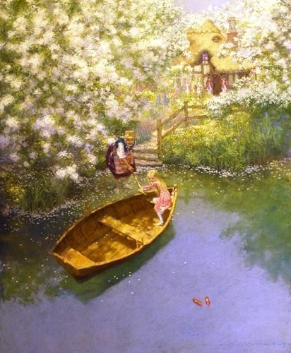вошла в воду зацепила лодку