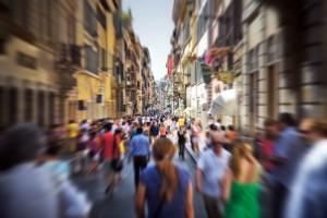Crowd on a narrow Italian street