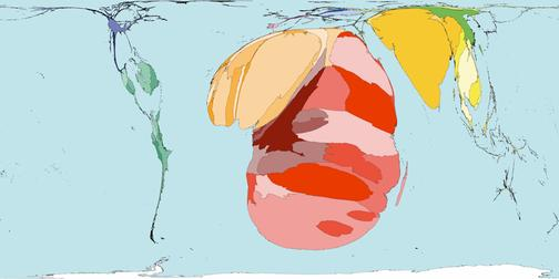 Рис.7 Карта мира по количеству больных ВИЧ и СПИДом